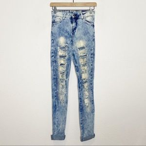 ZamZam Acid Washed Destroyed High Rise Skinny Jean